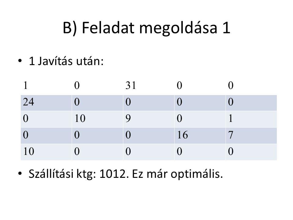B) Feladat megoldása 1 1 Javítás után: