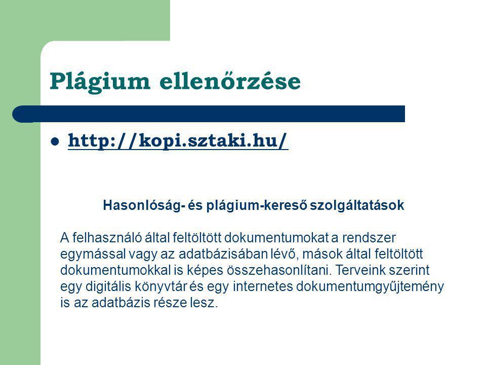Hasonlóság- és plágium-kereső szolgáltatások