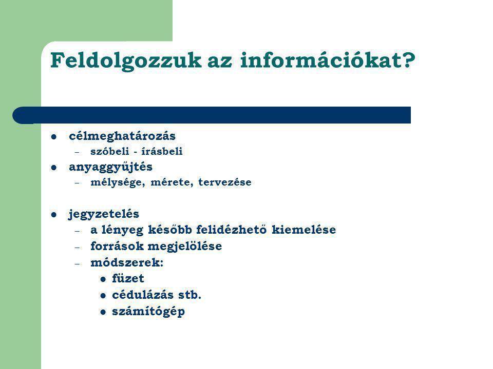 Feldolgozzuk az információkat