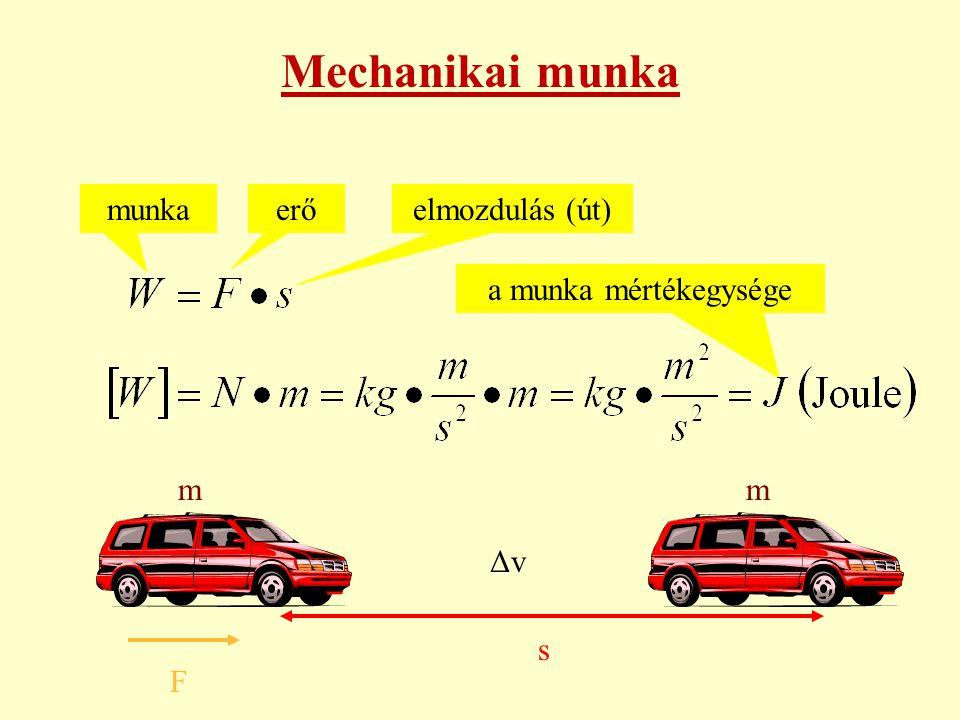 Mechanikai munka munka erő elmozdulás (út) a munka mértékegysége m m