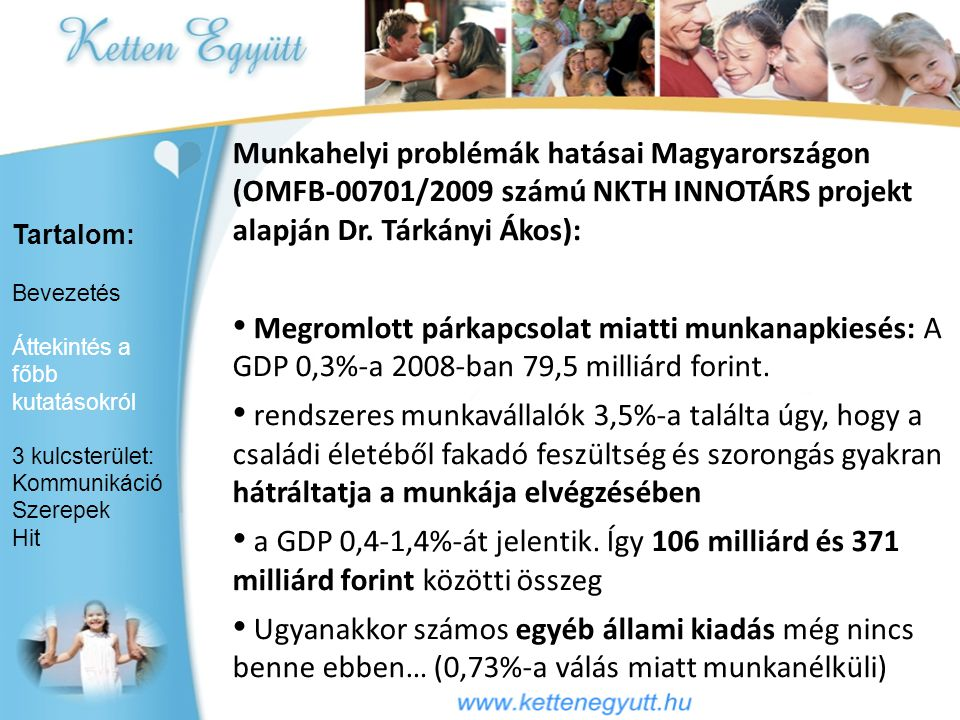 Munkahelyi problémák hatásai Magyarországon (OMFB-00701/2009 számú NKTH INNOTÁRS projekt alapján Dr. Tárkányi Ákos):