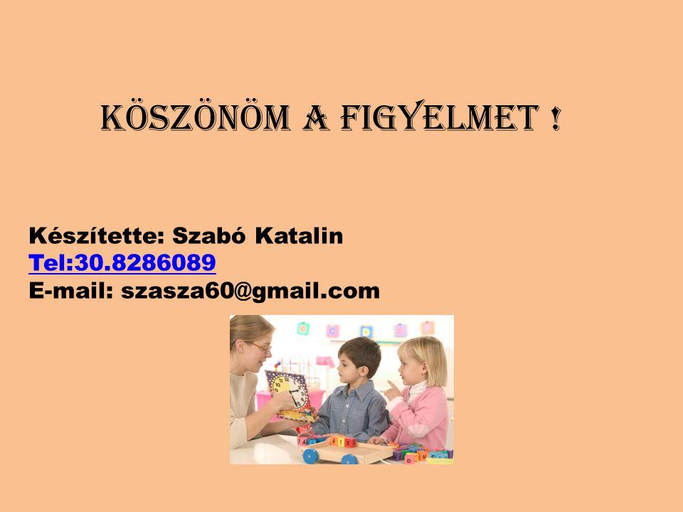 KÖSZÖNÖM A FIGYELMET ! Készítette: Szabó Katalin Tel:30.8286089