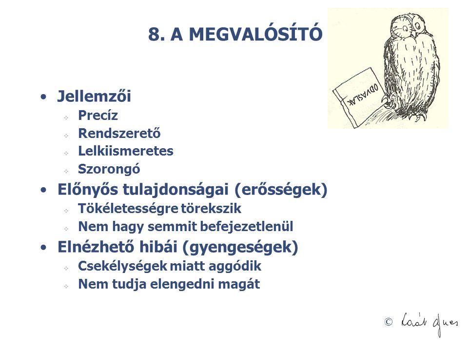 8. A MEGVALÓSÍTÓ Jellemzői Előnyős tulajdonságai (erősségek)