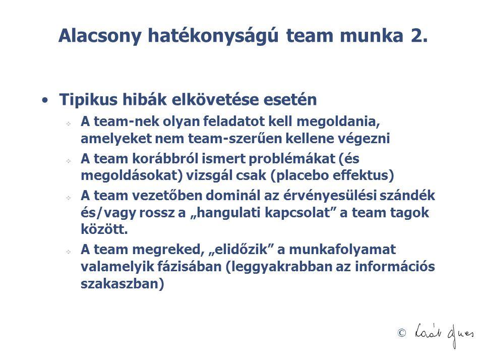 Alacsony hatékonyságú team munka 2.