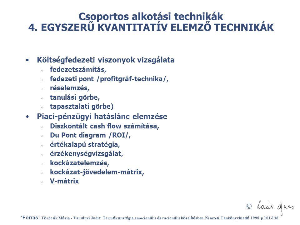 Csoportos alkotási technikák 4. EGYSZERŰ KVANTITATÍV ELEMZŐ TECHNIKÁK