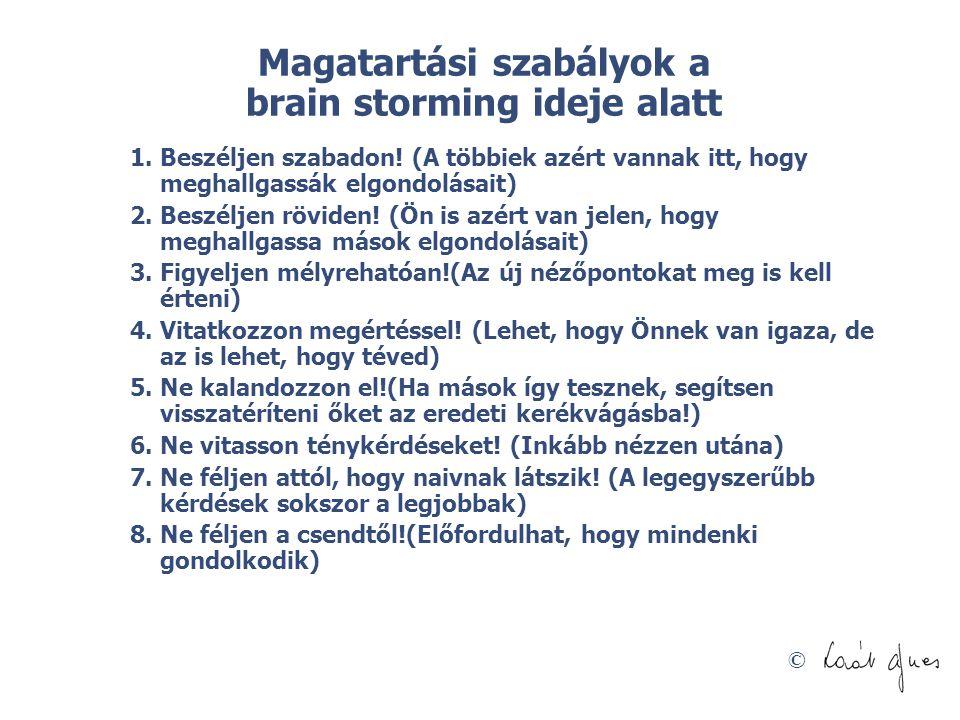Magatartási szabályok a brain storming ideje alatt