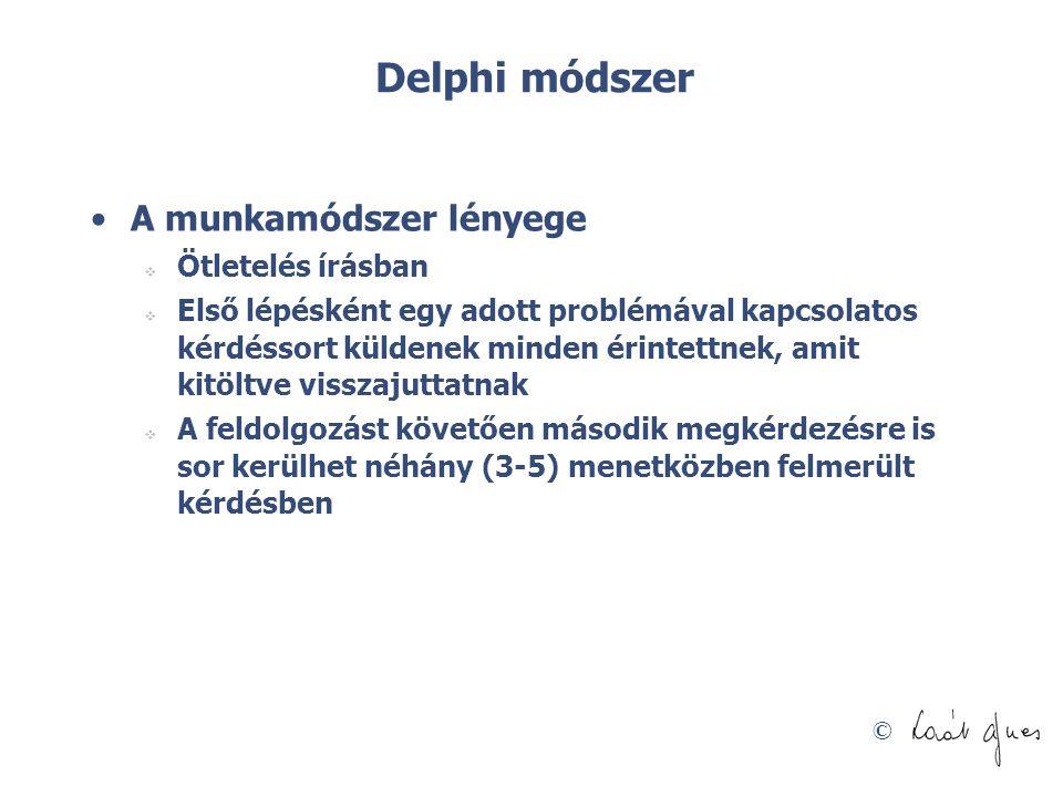 Delphi módszer A munkamódszer lényege Ötletelés írásban