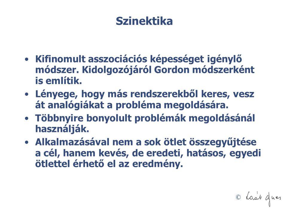 Szinektika Kifinomult asszociációs képességet igénylő módszer. Kidolgozójáról Gordon módszerként is említik.