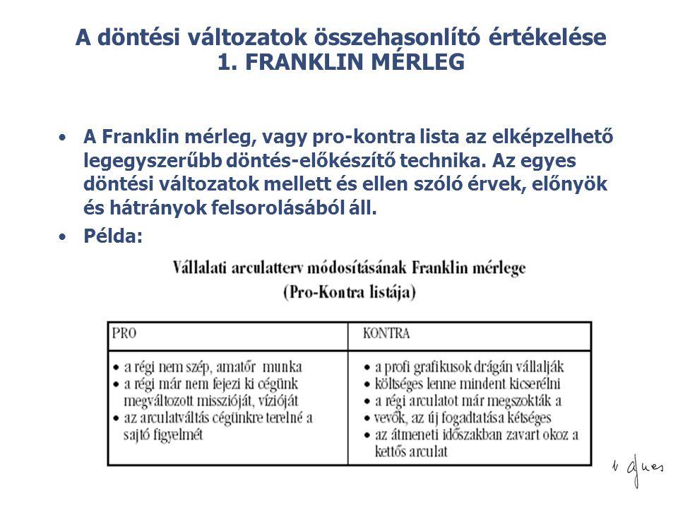 A döntési változatok összehasonlító értékelése 1. FRANKLIN MÉRLEG