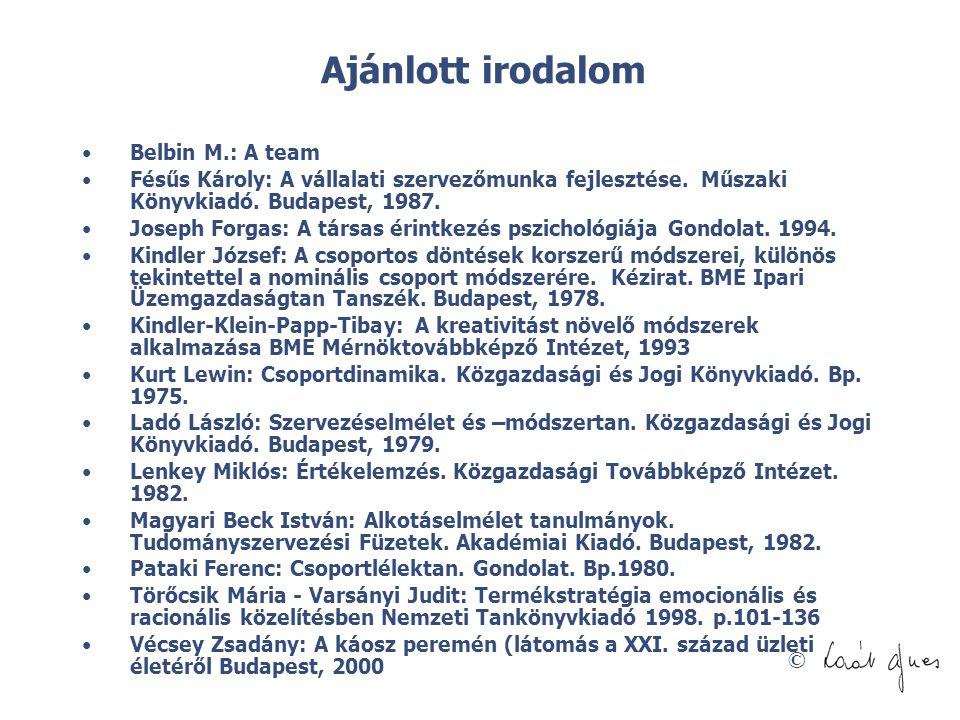 Ajánlott irodalom Belbin M.: A team