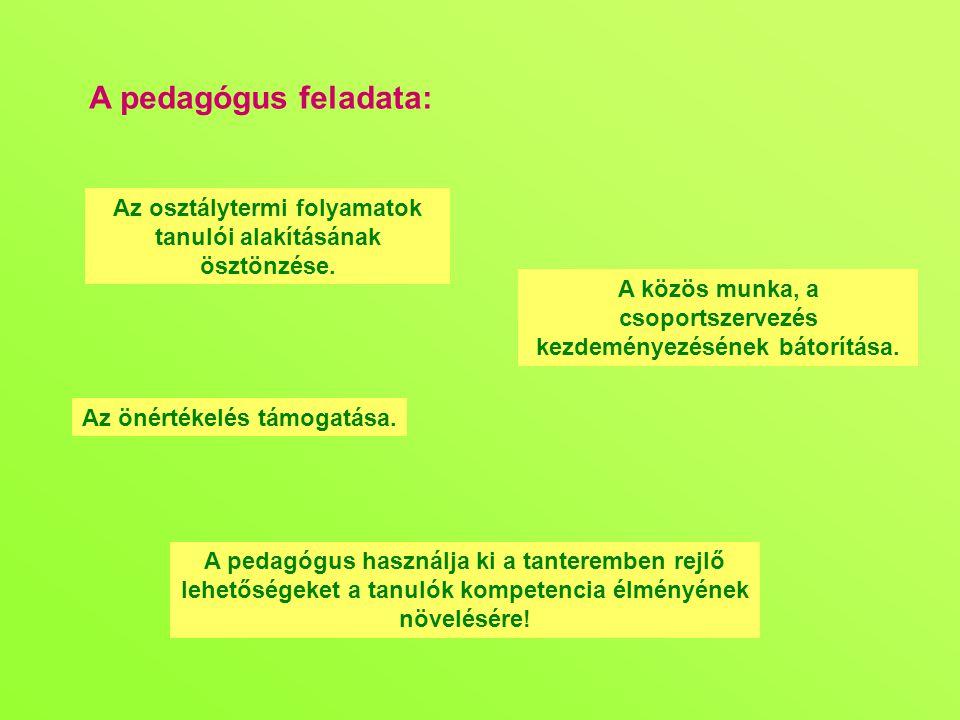 A pedagógus feladata: Az osztálytermi folyamatok tanulói alakításának ösztönzése. A közös munka, a csoportszervezés kezdeményezésének bátorítása.