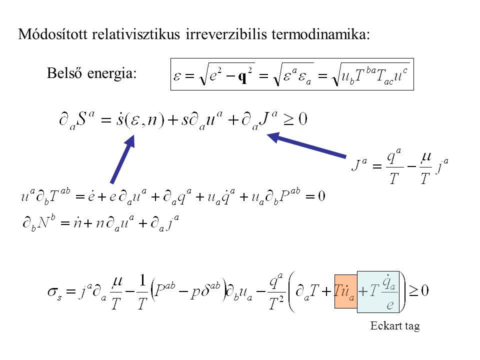 Módosított relativisztikus irreverzibilis termodinamika: