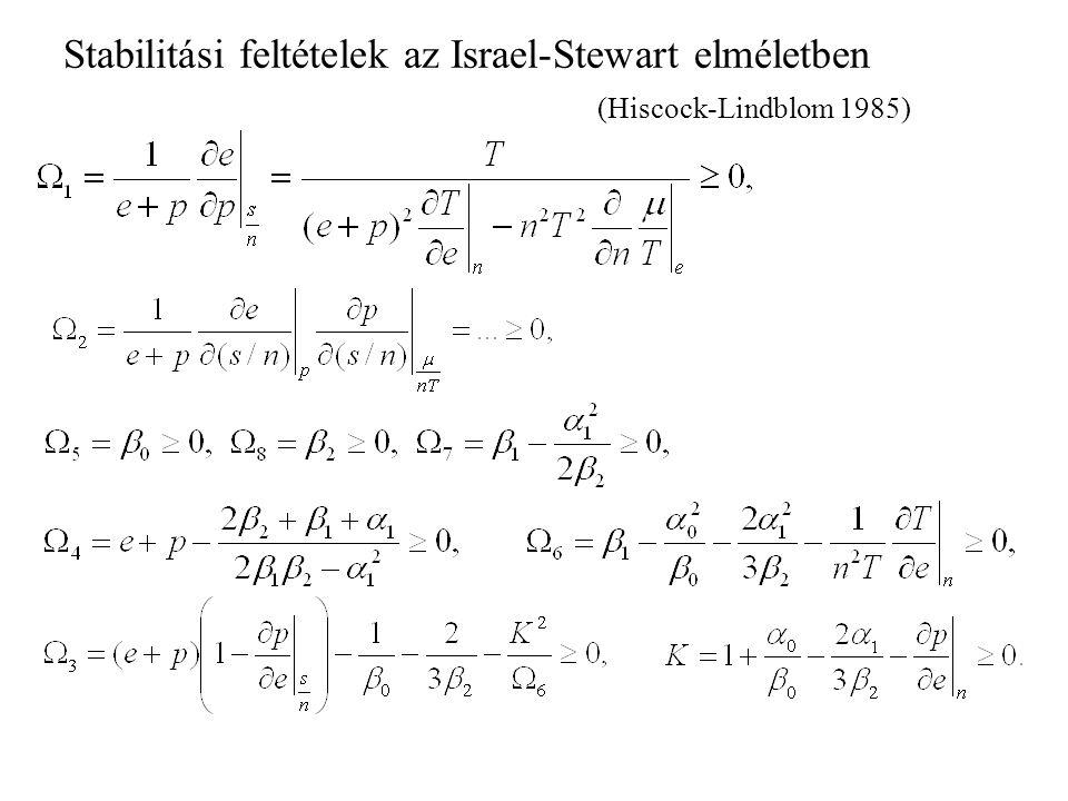 Stabilitási feltételek az Israel-Stewart elméletben