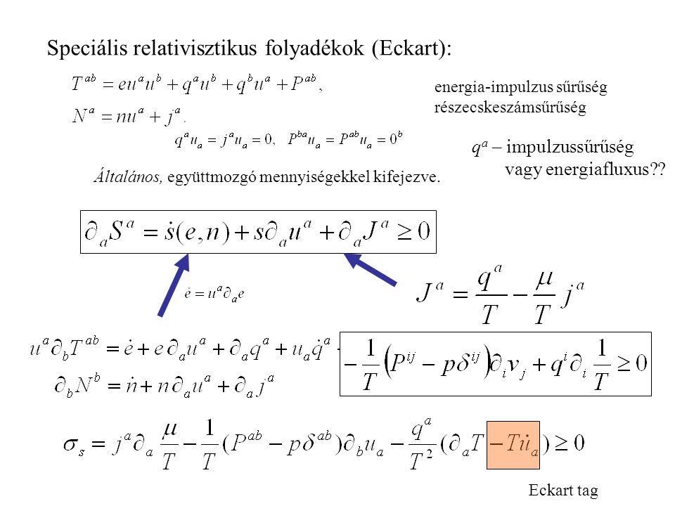 Speciális relativisztikus folyadékok (Eckart):
