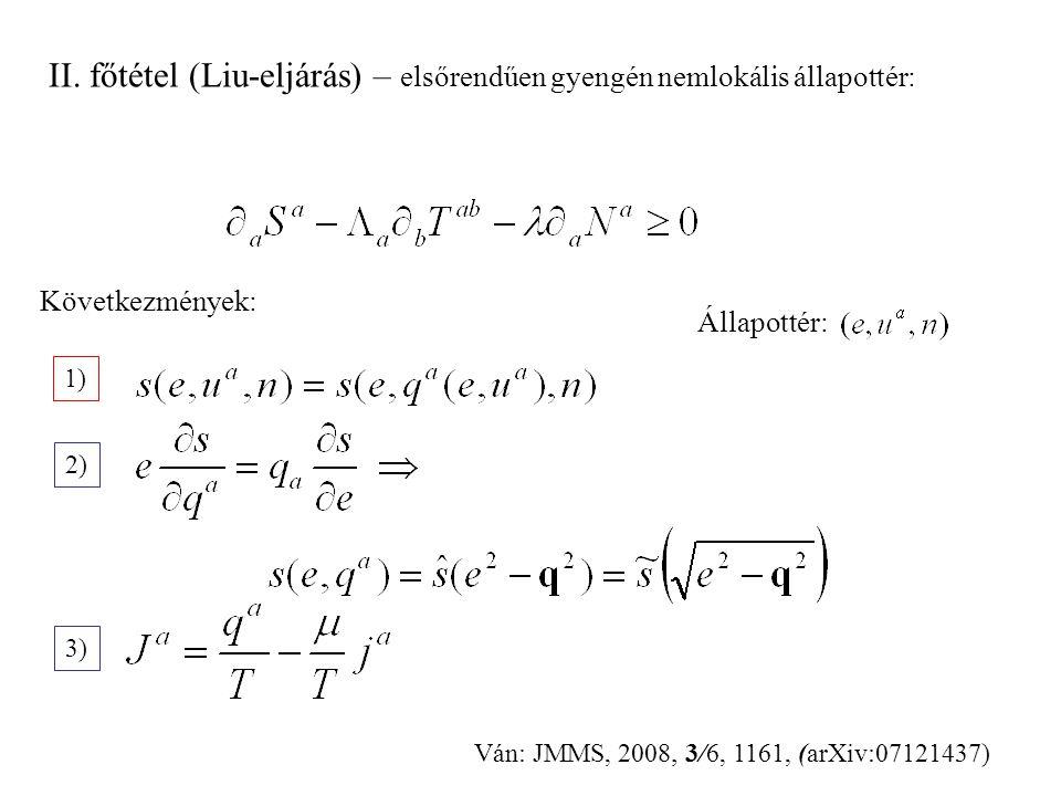 II. főtétel (Liu-eljárás) – elsőrendűen gyengén nemlokális állapottér: