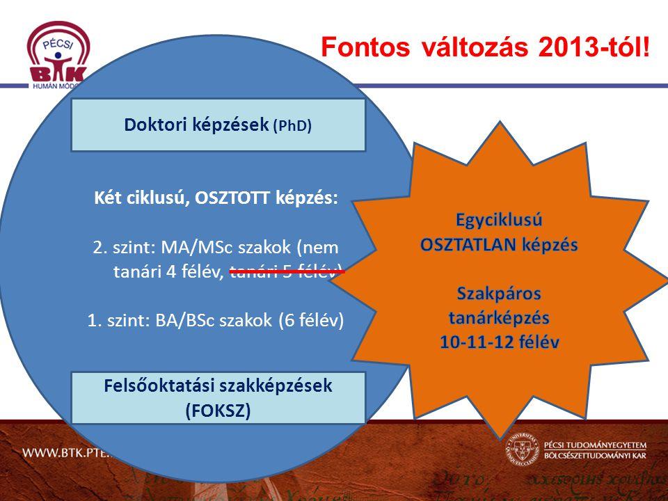 Fontos változás 2013-tól! Doktori képzések (PhD)