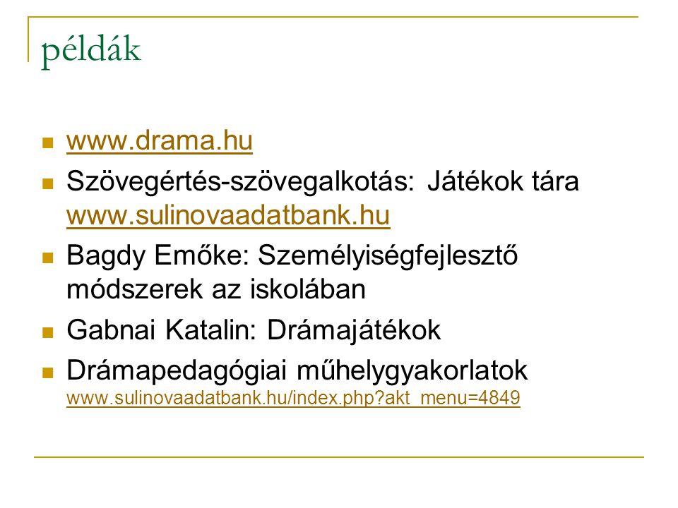 példák www.drama.hu. Szövegértés-szövegalkotás: Játékok tára www.sulinovaadatbank.hu. Bagdy Emőke: Személyiségfejlesztő módszerek az iskolában.