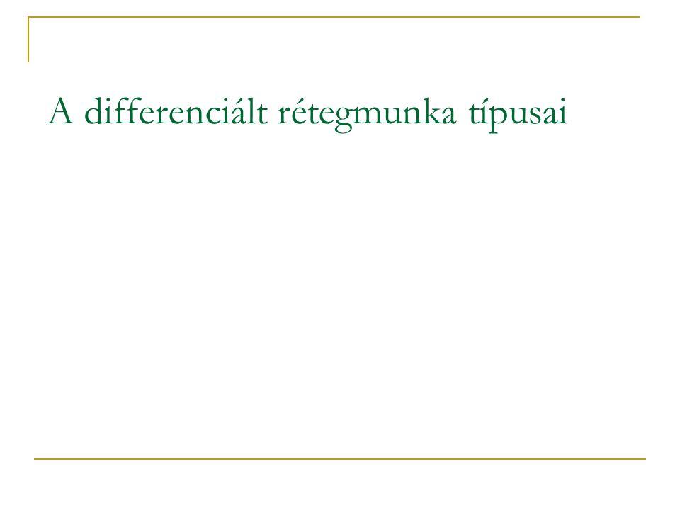 A differenciált rétegmunka típusai