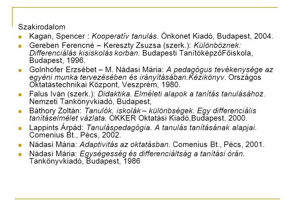 Szakirodalom Kagan, Spencer : Kooperatív tanulás. Önkonet Kiadó, Budapest, 2004.