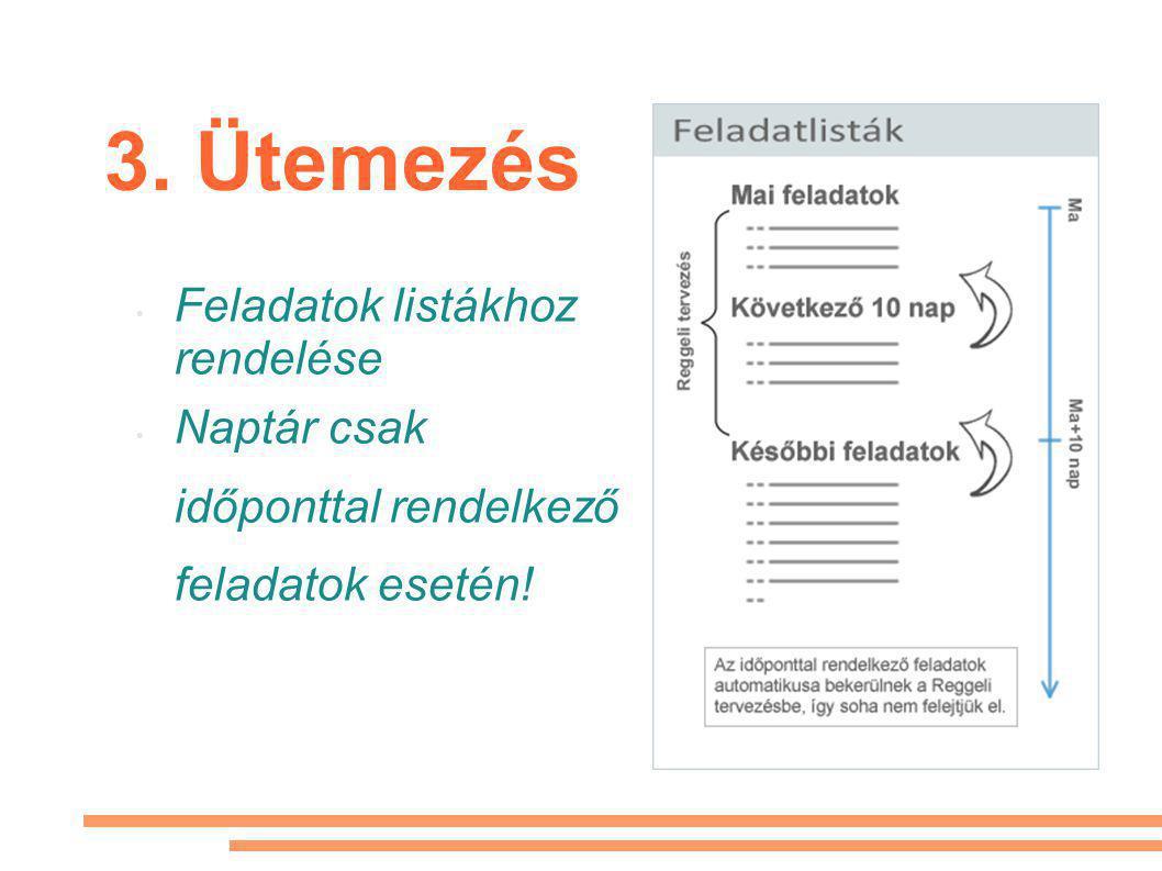3. Ütemezés Feladatok listákhoz rendelése