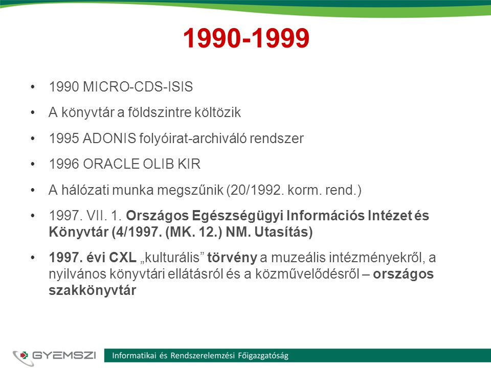 1990-1999 1990 MICRO-CDS-ISIS A könyvtár a földszintre költözik