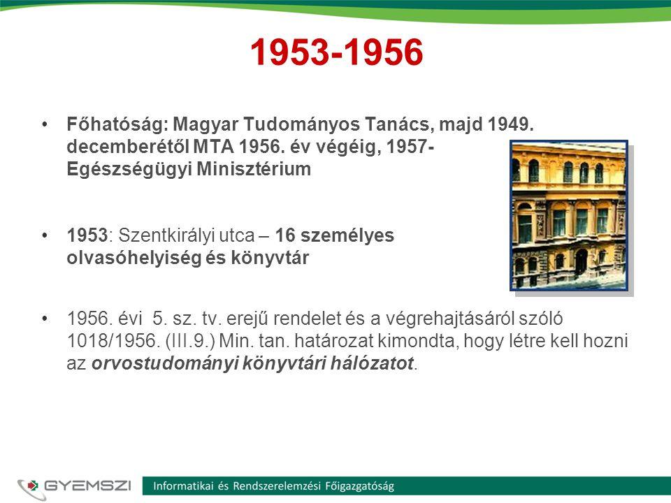 1953-1956 Főhatóság: Magyar Tudományos Tanács, majd 1949. decemberétől MTA 1956. év végéig, 1957- Egészségügyi Minisztérium.
