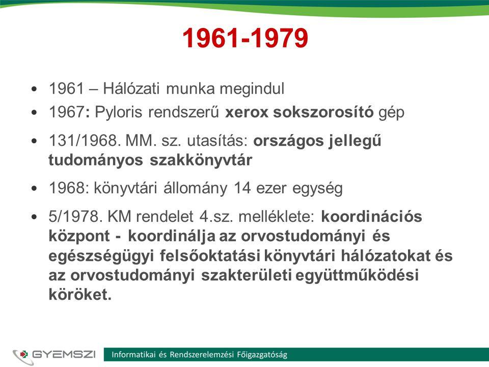 1961-1979 1961 – Hálózati munka megindul