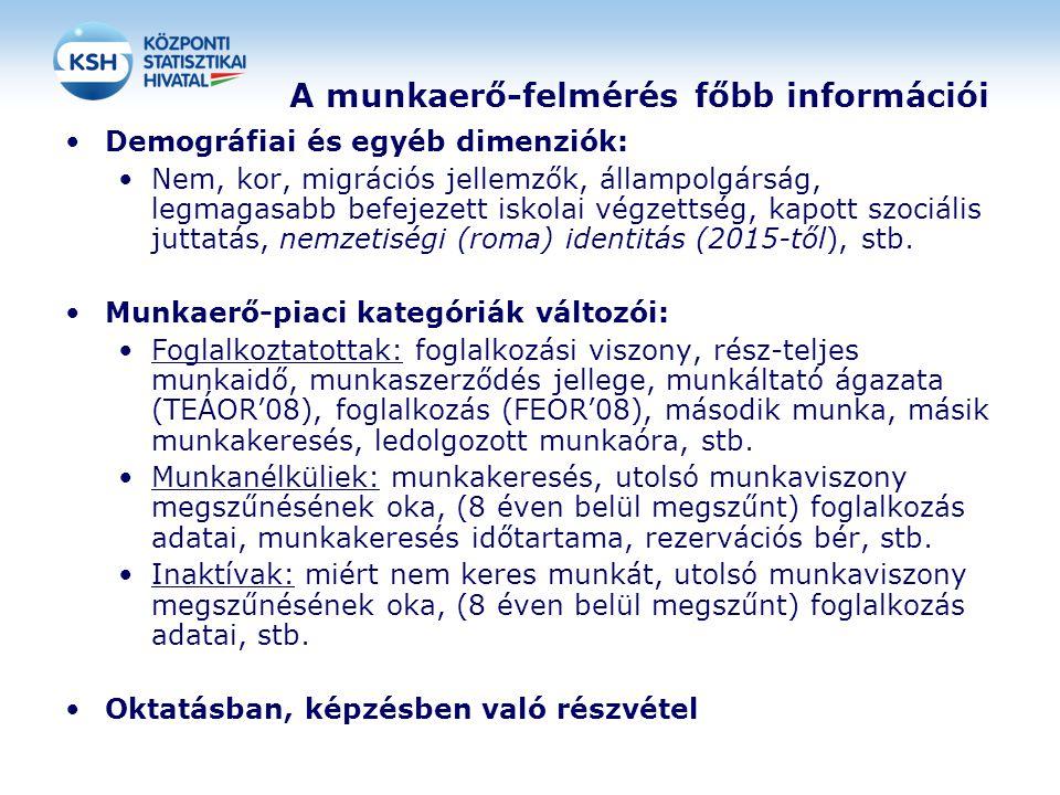 A munkaerő-felmérés főbb információi