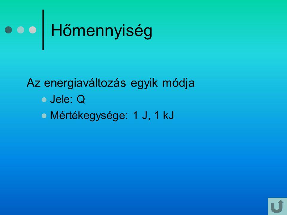 Hőmennyiség Az energiaváltozás egyik módja Jele: Q