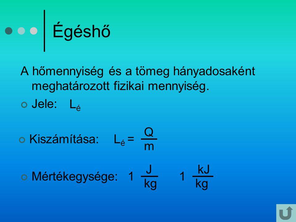Égéshő A hőmennyiség és a tömeg hányadosaként meghatározott fizikai mennyiség. Jele: Lé. Q. m. Lé =