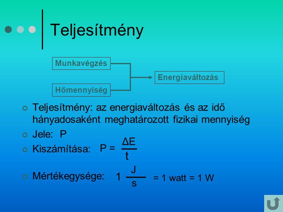 Teljesítmény Munkavégzés. Energiaváltozás. Hőmennyiség. Teljesítmény: az energiaváltozás és az idő hányadosaként meghatározott fizikai mennyiség.