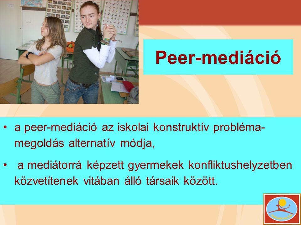 Peer-mediáció a peer-mediáció az iskolai konstruktív probléma-megoldás alternatív módja,
