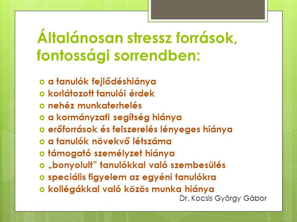 Általánosan stressz források, fontossági sorrendben: