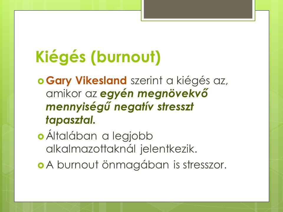 Kiégés (burnout) Gary Vikesland szerint a kiégés az, amikor az egyén megnövekvő mennyiségű negatív stresszt tapasztal.