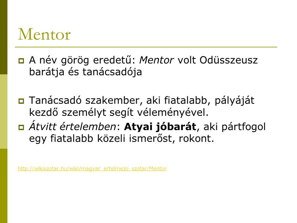 Mentor A név görög eredetű: Mentor volt Odüsszeusz barátja és tanácsadója.