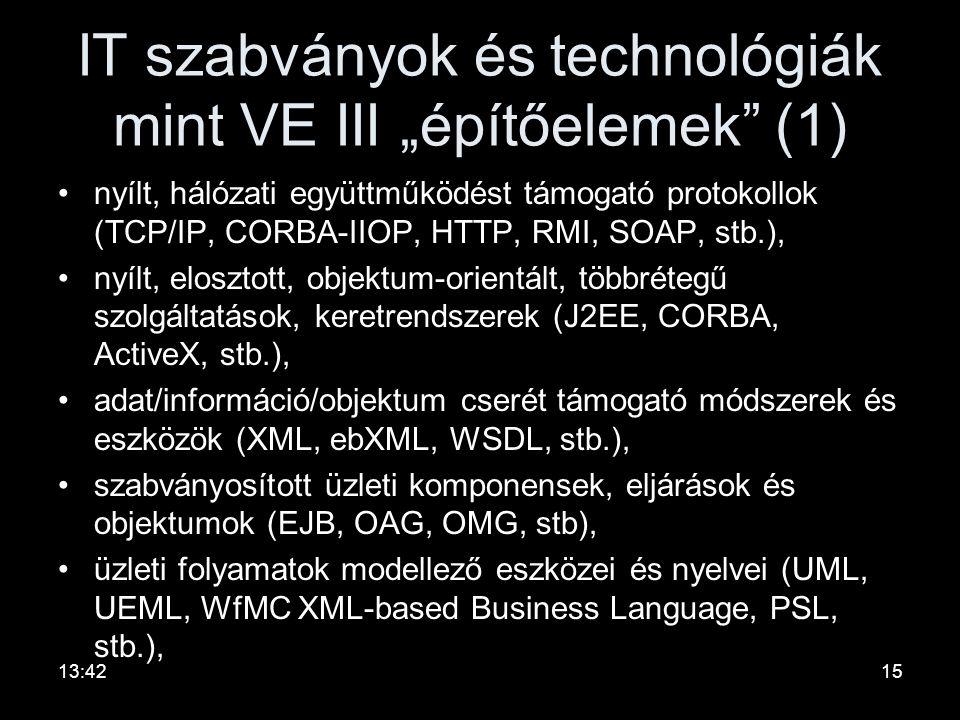 """IT szabványok és technológiák mint VE III """"építőelemek (1)"""
