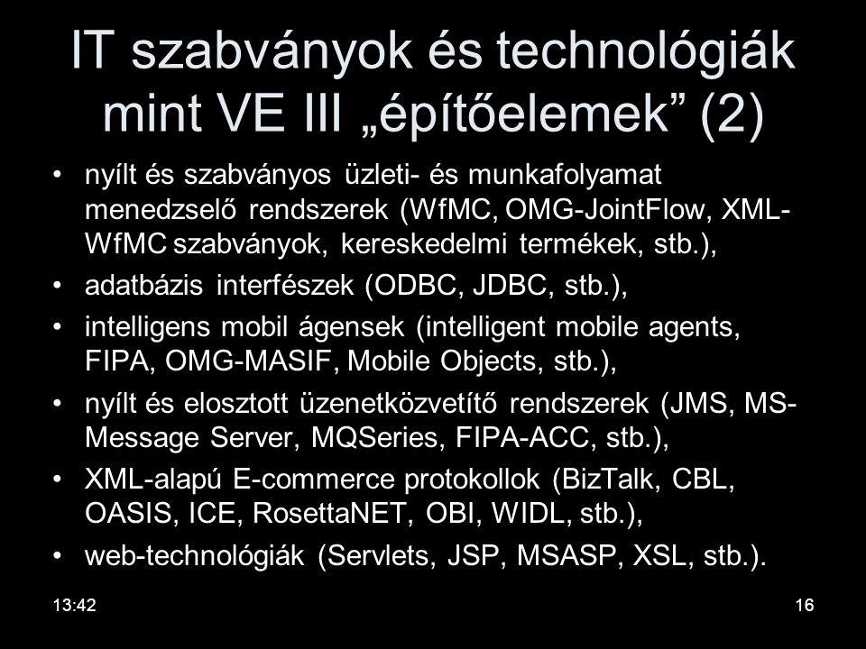 """IT szabványok és technológiák mint VE III """"építőelemek (2)"""