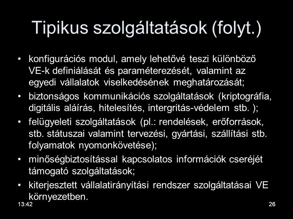 Tipikus szolgáltatások (folyt.)