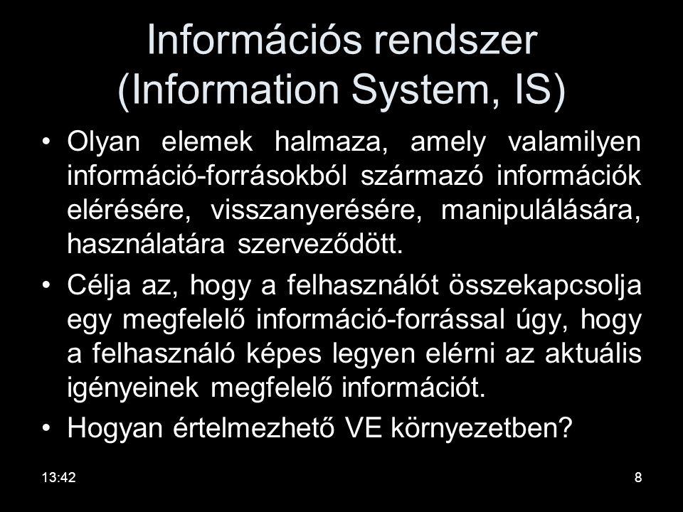 Információs rendszer (Information System, IS)