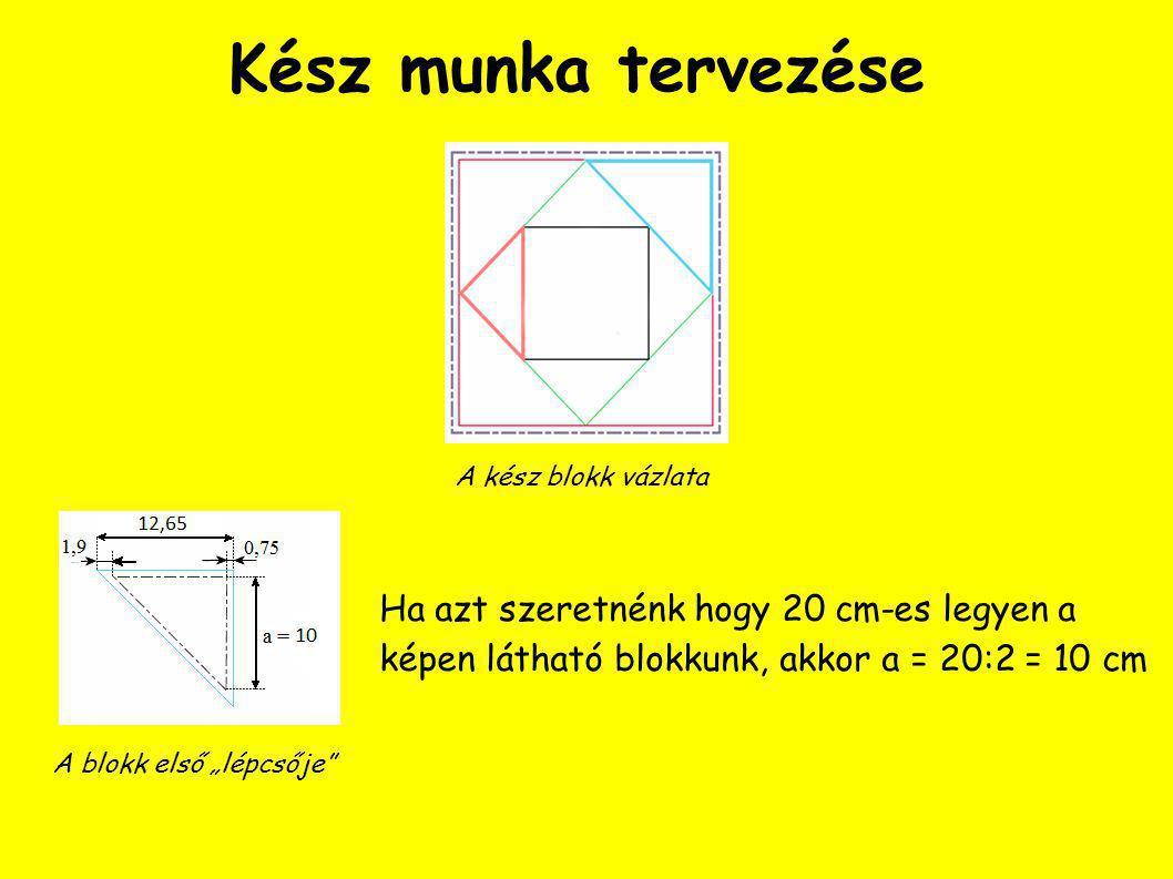 Kész munka tervezése A kész blokk vázlata. Ha azt szeretnénk hogy 20 cm-es legyen a képen látható blokkunk, akkor a = 20:2 = 10 cm.