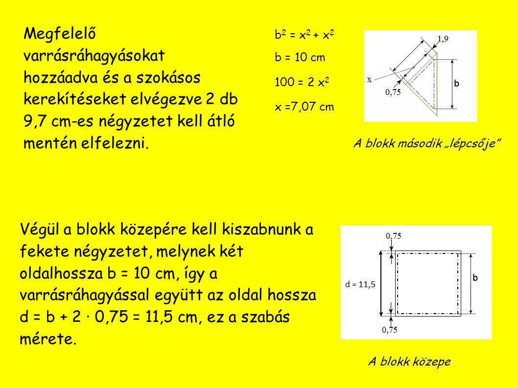 Megfelelő varrásráhagyásokat hozzáadva és a szokásos kerekítéseket elvégezve 2 db 9,7 cm-es négyzetet kell átló mentén elfelezni.