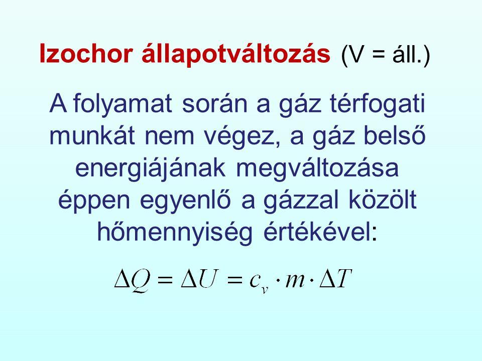 Izochor állapotváltozás (V = áll.)