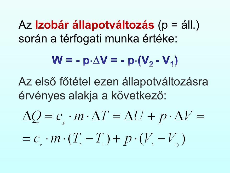 Az Izobár állapotváltozás (p = áll.) során a térfogati munka értéke: