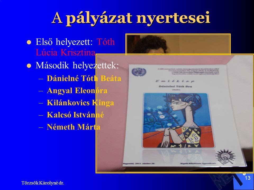 A pályázat nyertesei Első helyezett: Tóth Lúcia Krisztina