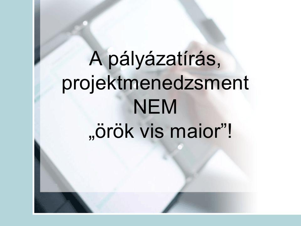 """A pályázatírás, projektmenedzsment NEM """"örök vis maior !"""