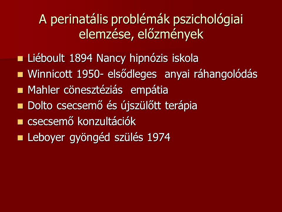 A perinatális problémák pszichológiai elemzése, előzmények