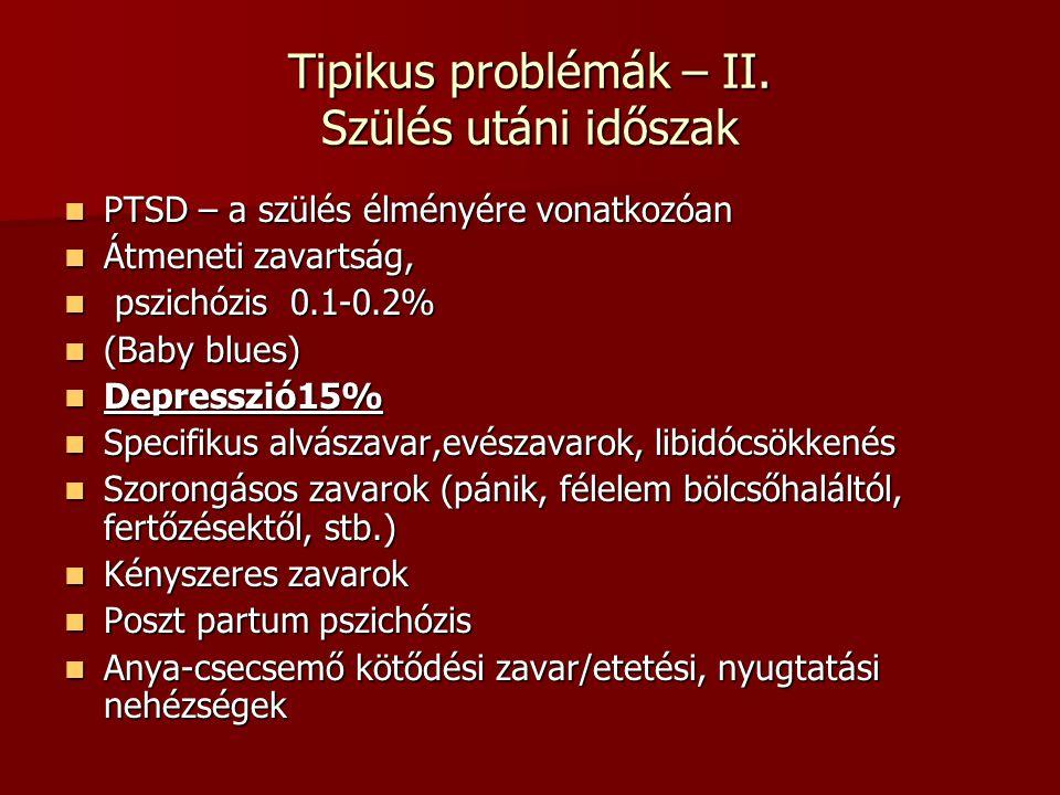Tipikus problémák – II. Szülés utáni időszak