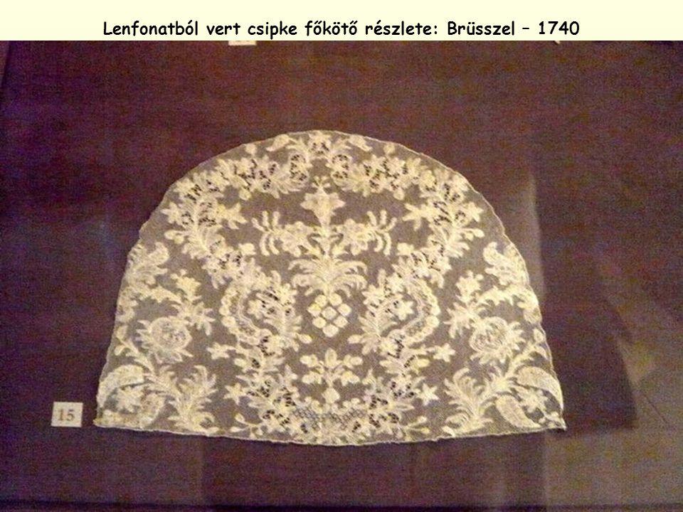Lenfonatból vert csipke főkötő részlete: Brüsszel – 1740