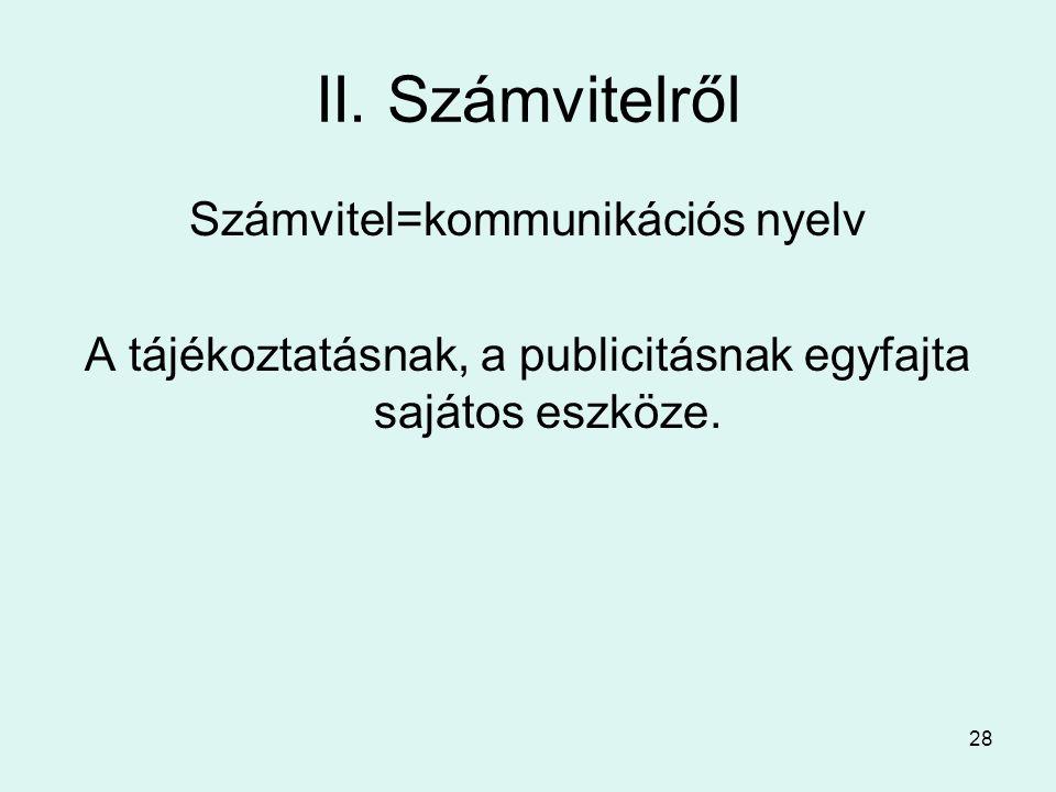 II. Számvitelről Számvitel=kommunikációs nyelv