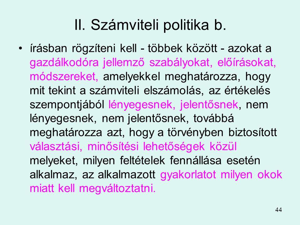II. Számviteli politika b.